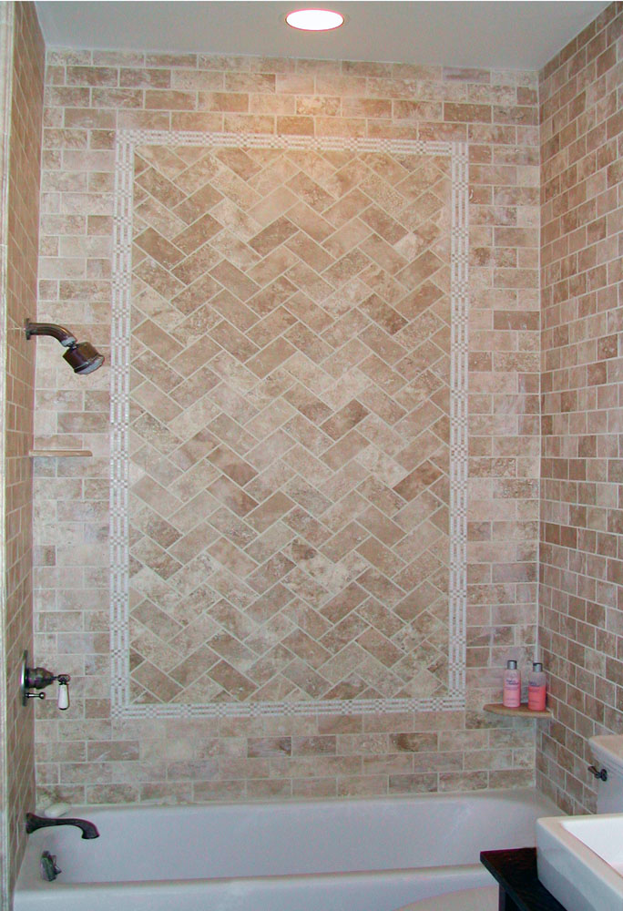 ... Shower Floor Stone Tile Walls With Herringbone Filled Tile Wide View ...